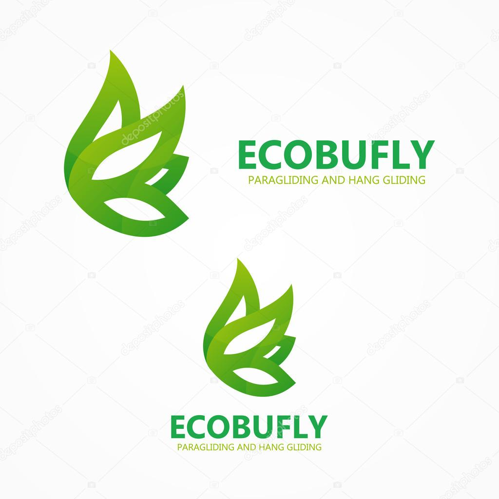Green eco butterfly logo or icon