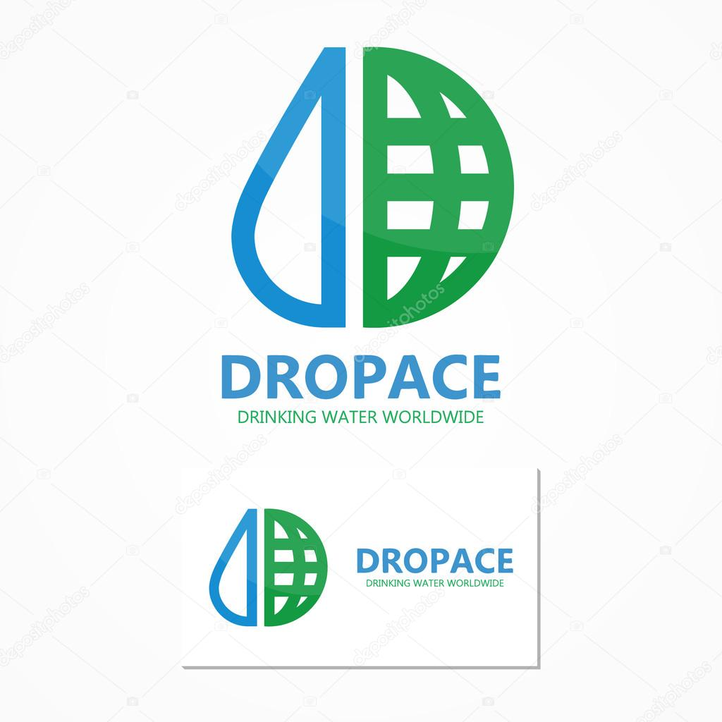 Vector logo combination of a water drop and earth