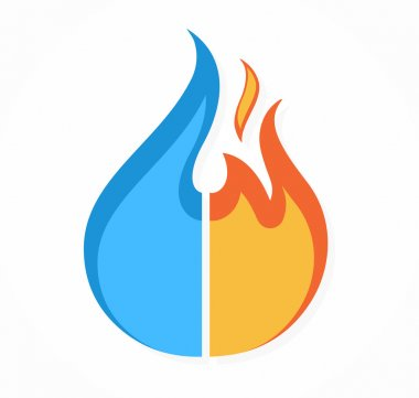 Vector fire and water logo or icon