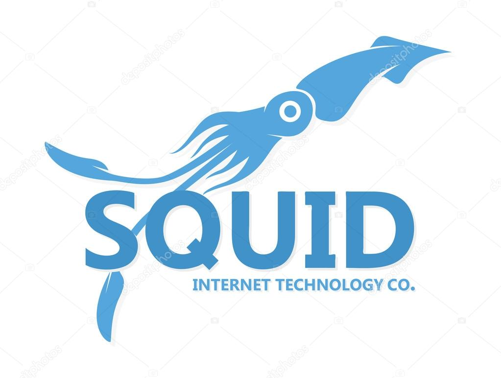 Vector squid logo. Blue squid silhouette