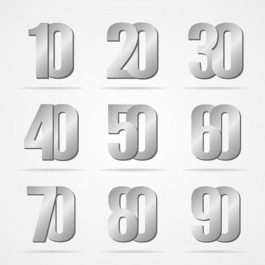 Vector silver font numbers