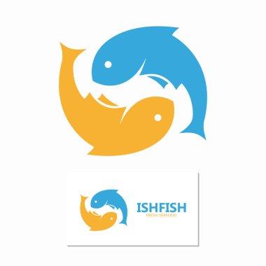 Vector fish design logo template. Seafood design concept.