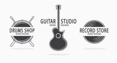 Set of vintage musical instrument logos. Vector design elements  for music shop, guitar shop