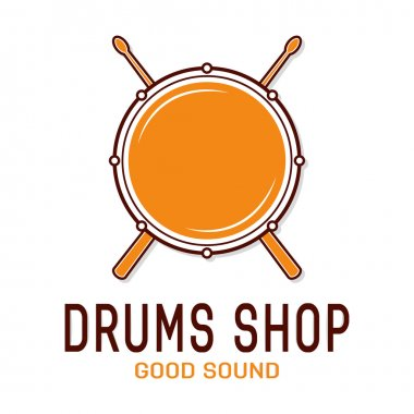 Vector drum icon with sticks. Drum school logo