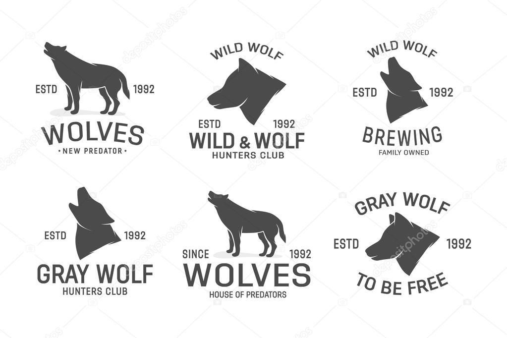vector set of wolf logo design elements stock vector lifeking83
