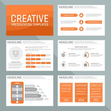 Vector template for multipurpose presentation slides with graphs and charts