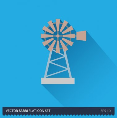 Windmill vector flat long shadow icon on blue background. Farm icons collection
