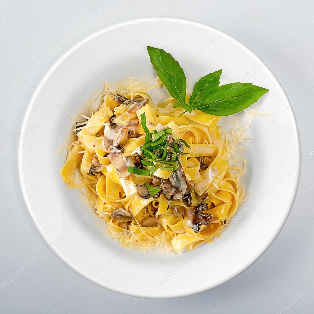 Pasta On white round dish