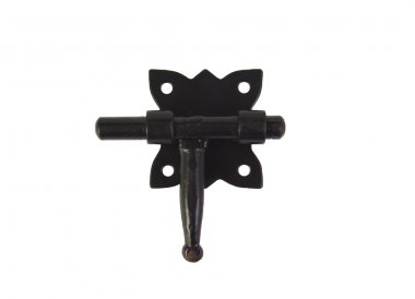 Old and vintage black locking slide latch isolated on a white background