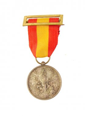 Medal of Honor showing Spanish flag and Our Lady Pilar or Pillar image isolated on a white background