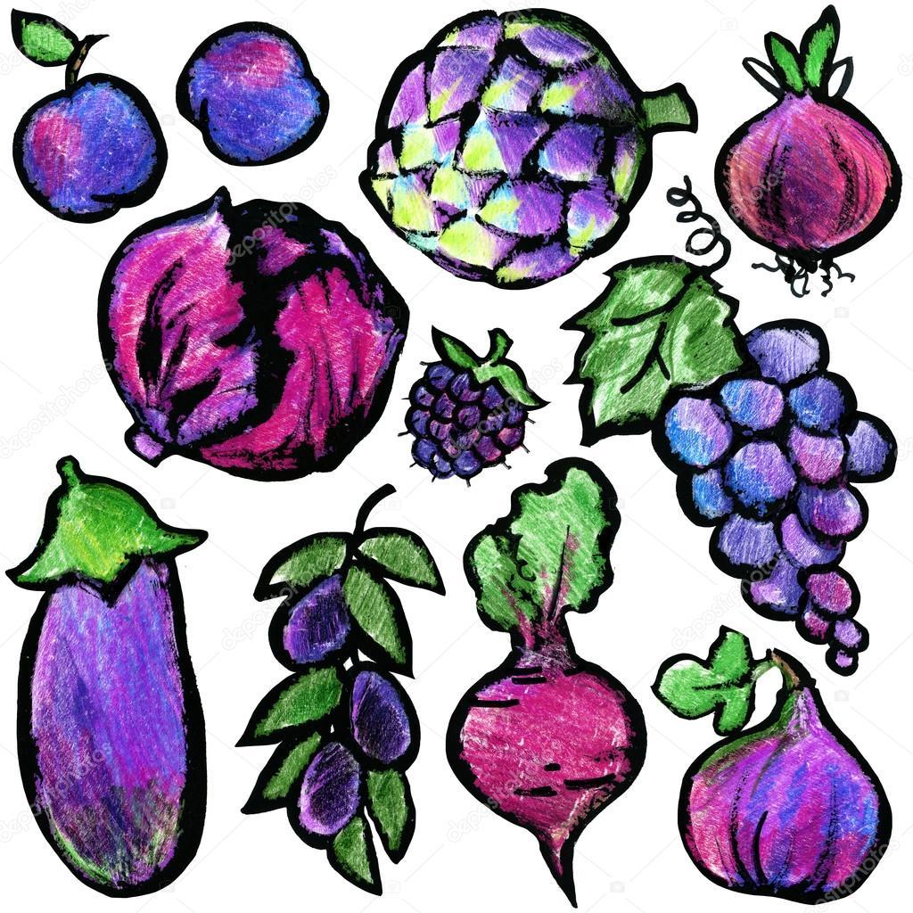 Mor Meyve Ve Sebzeler Suluboya Elle çizilmiş Meyve Ve Sebzeler Eko