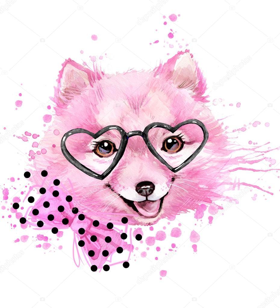 かわいい犬犬 T シャツ グラフィック水彩画犬イラスト背景