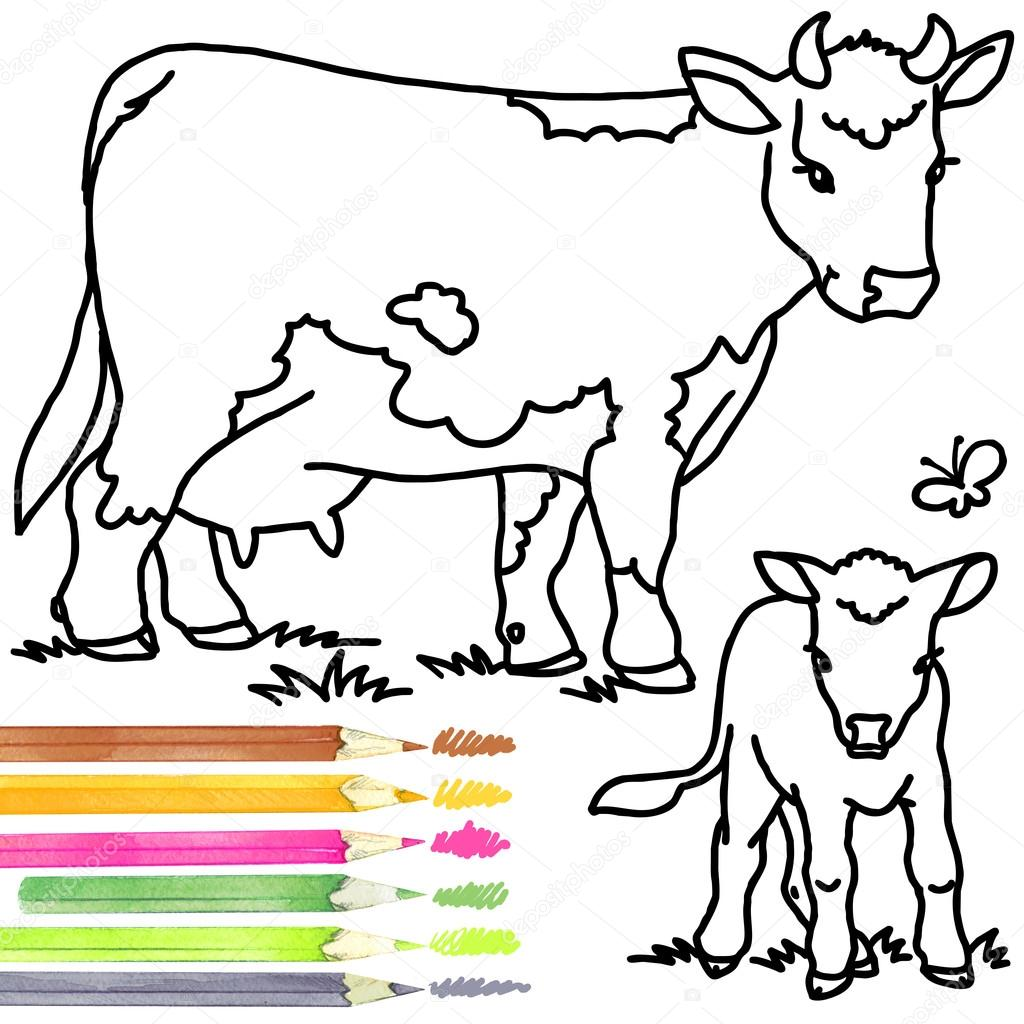 Cow and calf. Coloring book cow and calf. Cow outline drawing. Cow ...