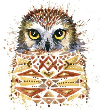 Cute Owl. Watercolor Owl. Owl Tee Shirt illustration. Etnic background. Watercolor bird