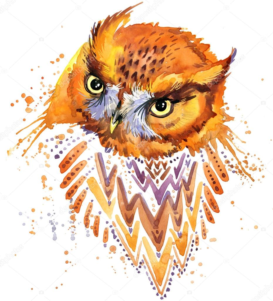 Cute Owl. Watercolor Owl. Owl Tee Shirt illustration. Etnic background. Watercolor bird