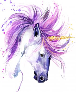 Unicorn. Unicorn watercolor illustration. Magical Unicorn. Unicorn T-Shirt print.