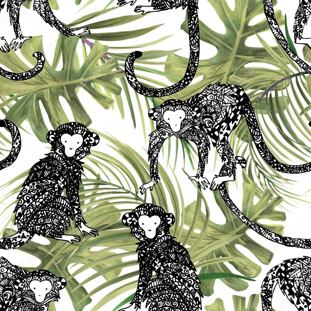 Tropical forest watercolor background. Exotic seamless pattern. Tropical nature background. Monkey illustration. Tropical animal. Tropical animal seamless pattern. Monkey ink graphic. Jungle plant.