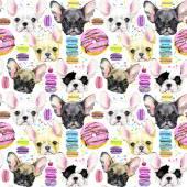 Kutya Seamless pattern. Francia Bulldog. Aranyos kutya. Akvarell kutya. Kölyök kutya illusztráció. Nyomtatási divat. Édes desszert háttér. Desszert zökkenőmentes minta