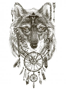 Wolf. Wolf indian warrior. Wolf sketch. Indian wolf. Hand Drawn animal illustration. Abstract wolf illustration. Hand drawn wolf. Wolf tattoo style. Wolf native american poster