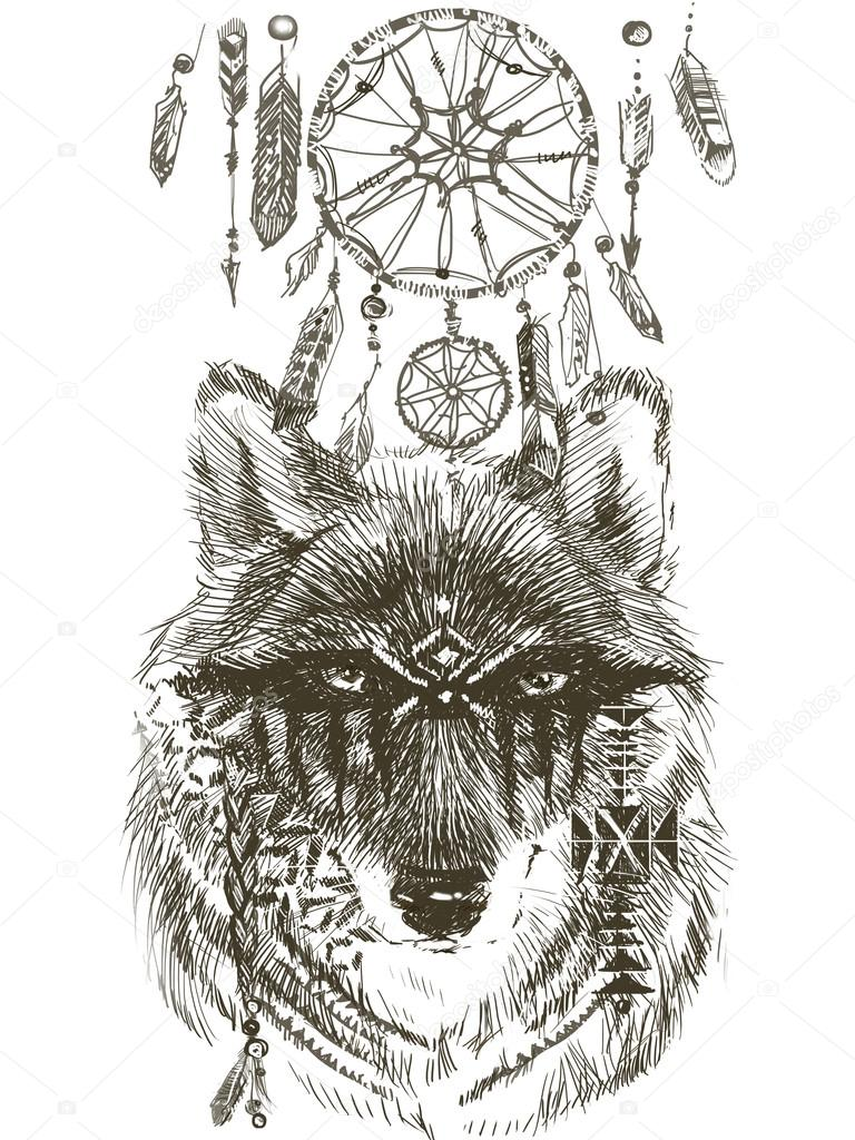 Stock Photo Wolf Wolf Indian Warrior Wolf on Native American Symbols