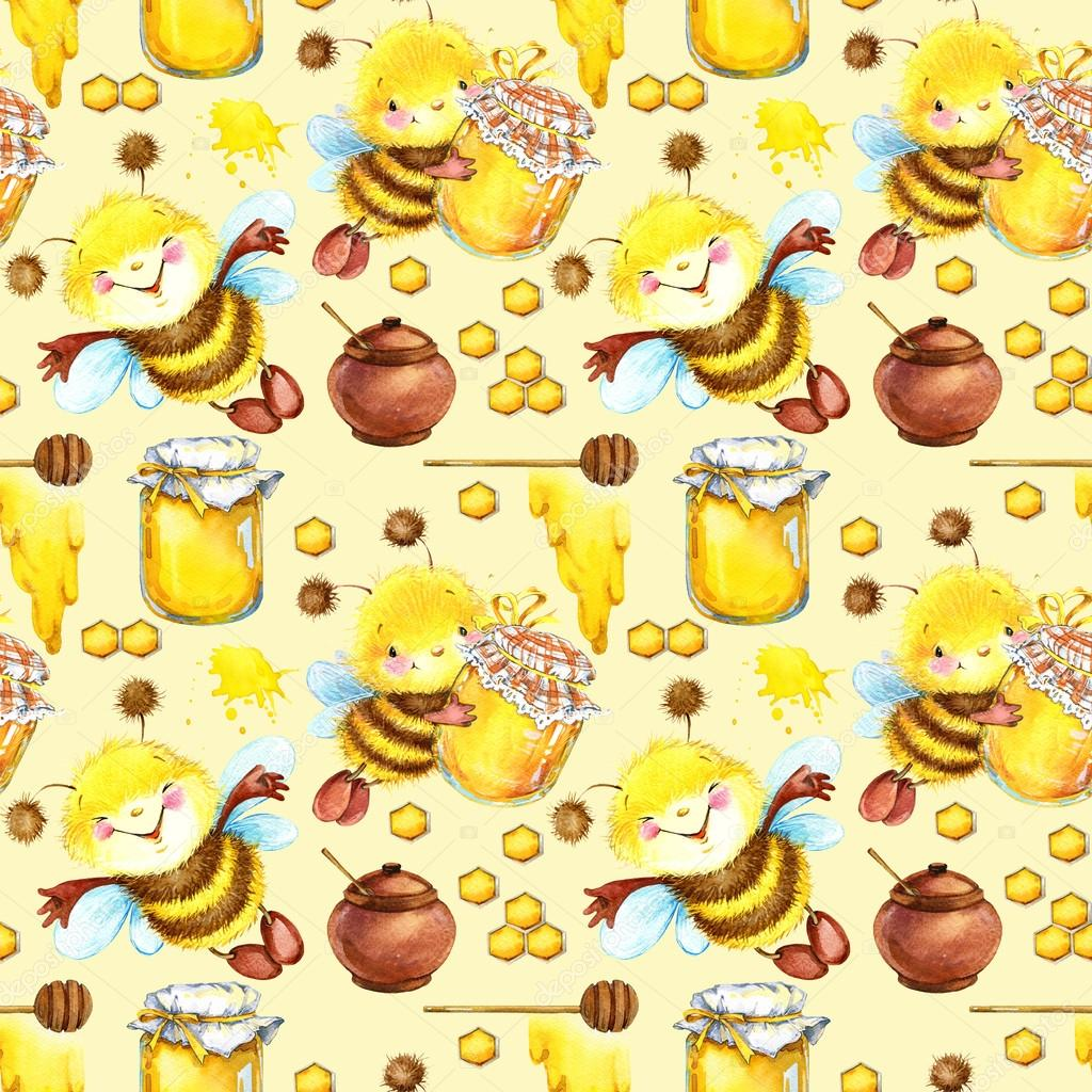 Honey seamless pattern with hand drawn cute bee honey bee seamless honey seamless pattern with hand drawn cute bee honey bee seamless pattern cute bee illustration honey pattern background sweet pattern voltagebd Gallery