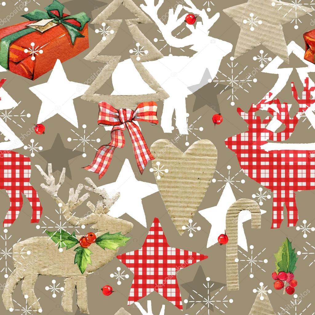 Фотообои  Christmas seamless pattern. Reindeer vintage background. Christmas forest background. Reindeer seamless pateern. Scandinavian style. Christmas collage abstract background