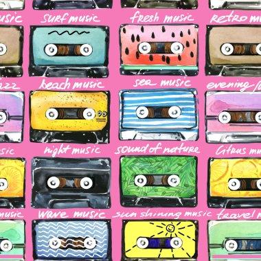Retro Cassettes. Audio cassettes illustration. Summer time music. Watercolor cassettes illustration. Audio cassette. Retro cassette collection. T-shirt design