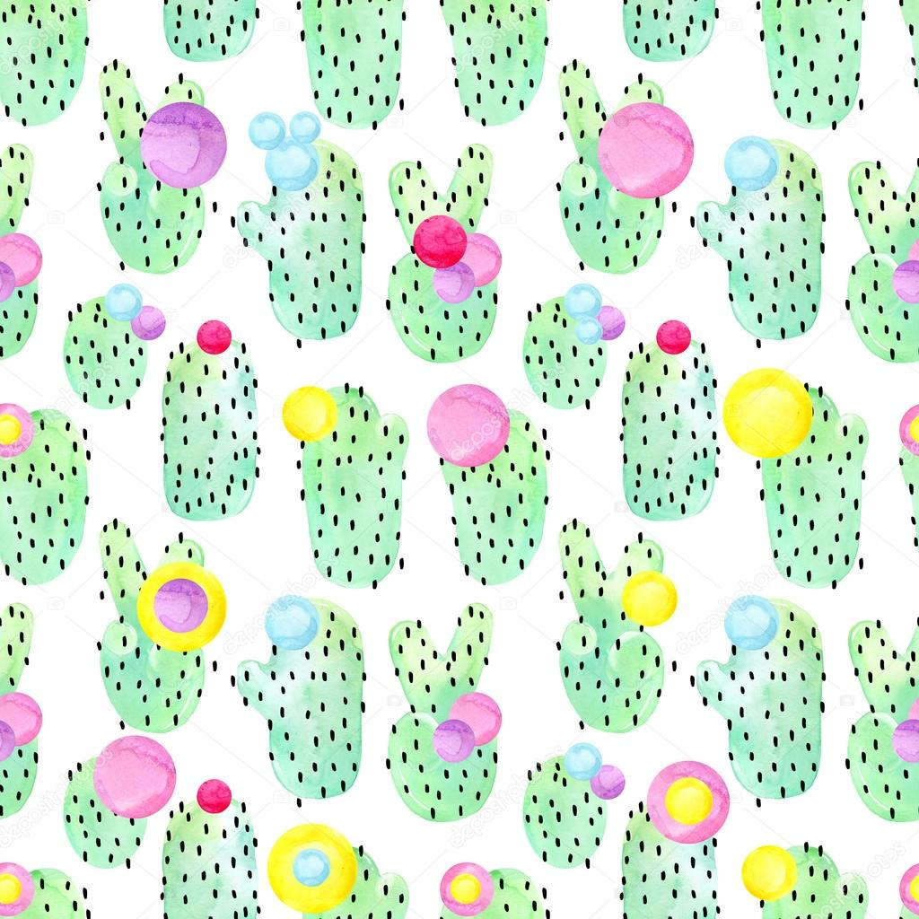 Cactus seamless pattern watercolor background. Abstract tropical pattern. Succulent and cactus seamless pattern. Cactus background