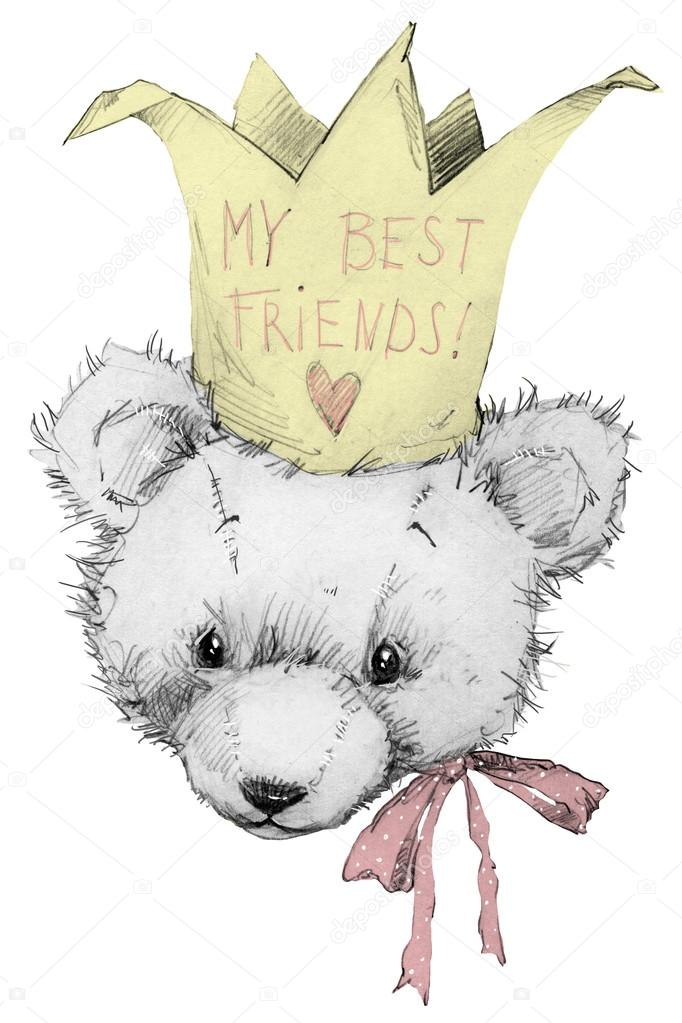 Cute Teddy Bear Teddy Bear Sketch Greeting Card Birthday Card