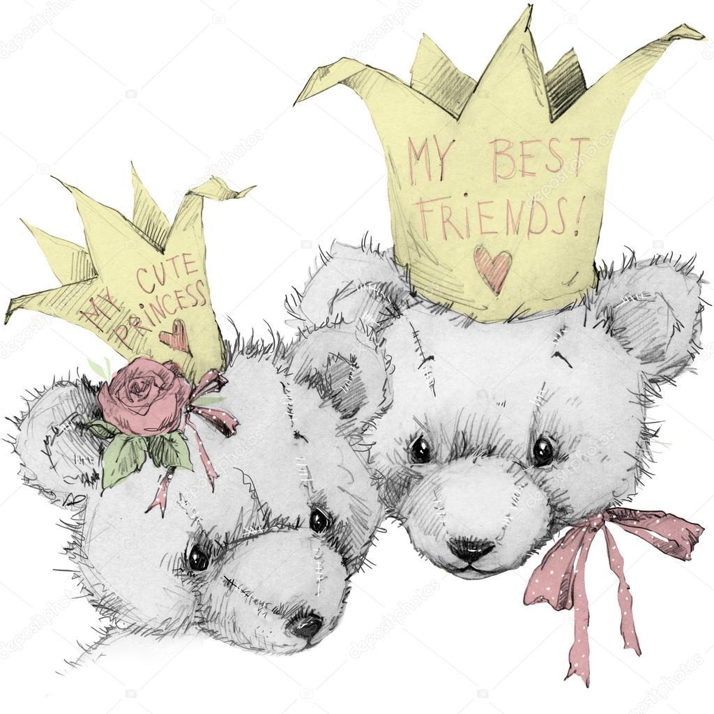 Cute Teddy Bear Sketch Greeting Card Birthday Toy Princess Friends
