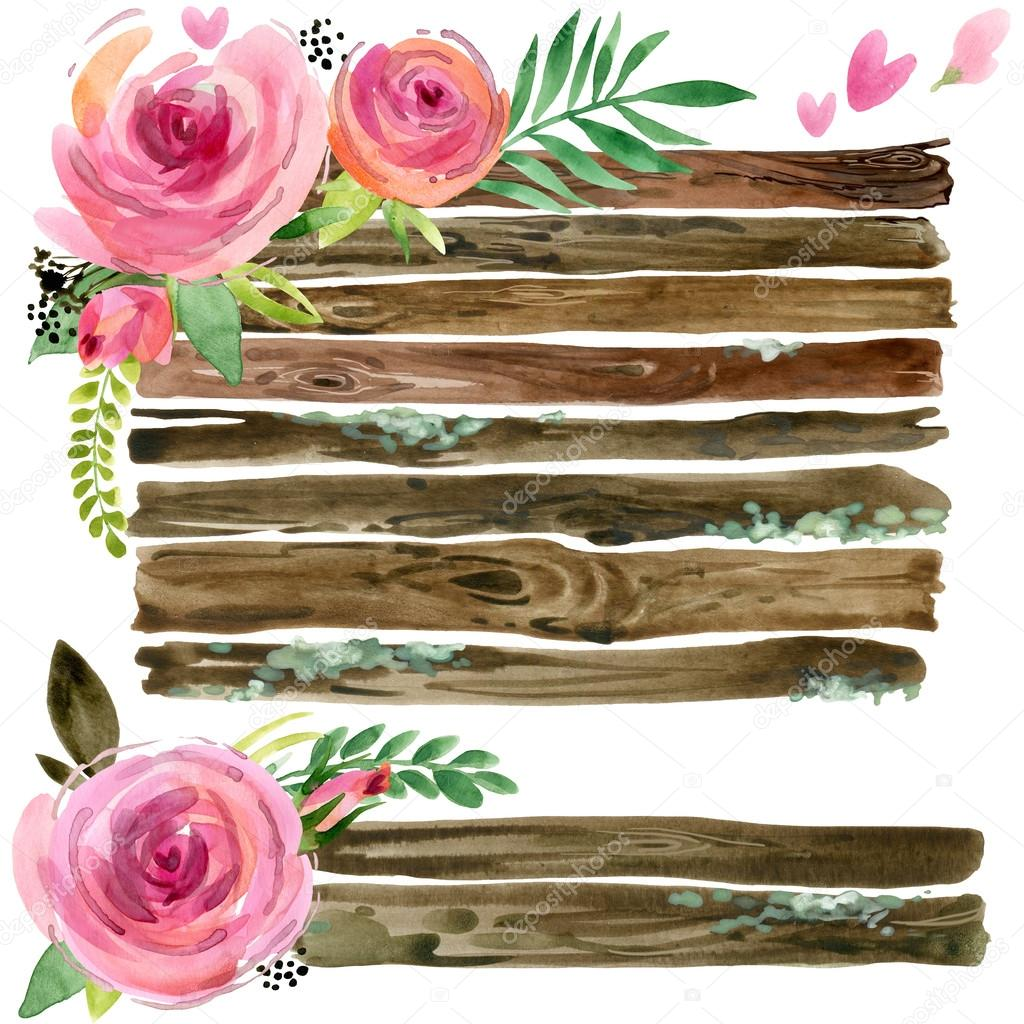 Wood Banners with rose flower. Rose flower watercolor. Wedding decorative element. Birthday invitation decorative element. Wood panel set. Vintage Wood board. Grunge wall watercolor background.