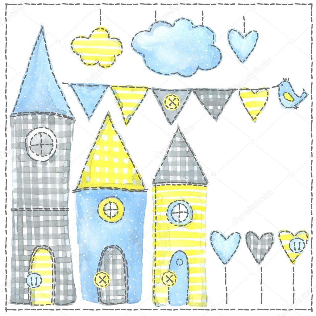 素敵な町。家。市の水彩イラスト。子供たちの休日の背景。かわいい家