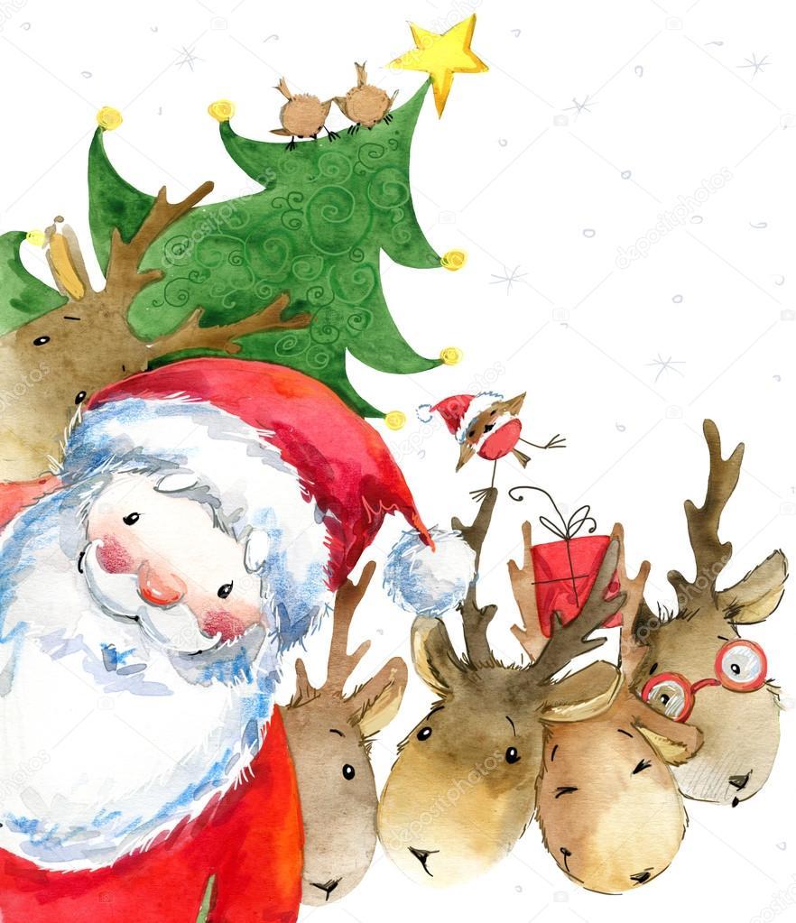 santa clause lustige santa new year greeting card. Black Bedroom Furniture Sets. Home Design Ideas