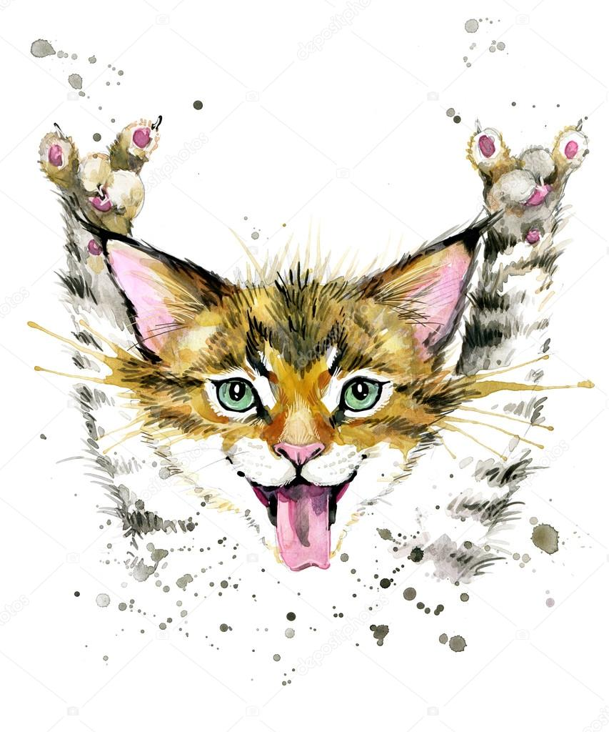 Cute Cat Watercolor Illustration Birthday Card T Shirt Print Greeting Pet Poster Kitten Stock Image