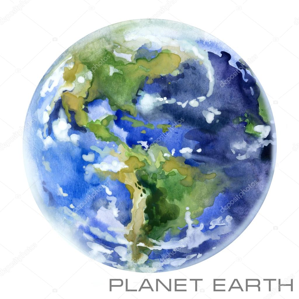 Planet Earth. Earth watercolor background. Planet Earth watercolor illustration.