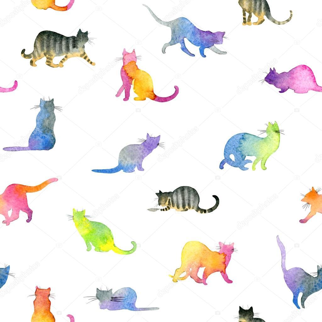 Sevimli Kediler Ile Seamless Modeli Sevimli Kedi Sulu Boya