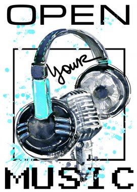 Music. headphone and microphone watercolor illustration. Musical background for design T-shirt. DJ.