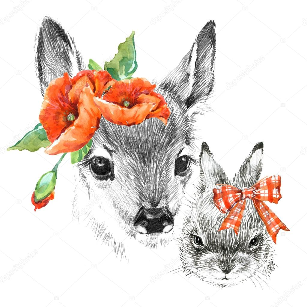 cute deer and rabbit pencil sketch of fawn animal illustration t shirt design photo by dobrynina_art
