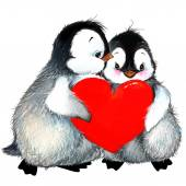 Photo Valentine day. background for a card with a cute penguin and red heart . watercolor drawing