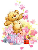 Teddy bear.background for kids birthday greetings festival.watercolor illustracion
