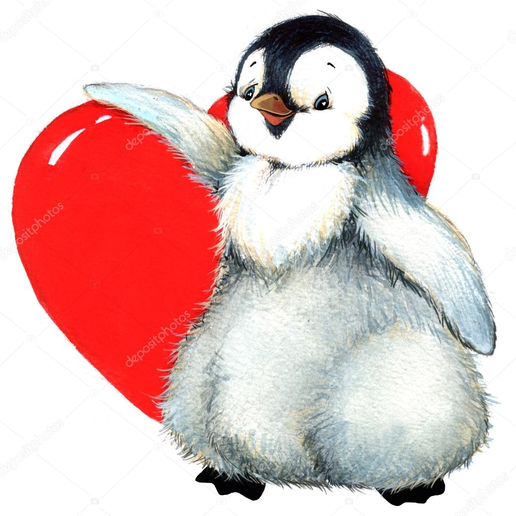 Valentine Day. Background For A Card With A Cute Penguin And Red Heart .  Watercolor