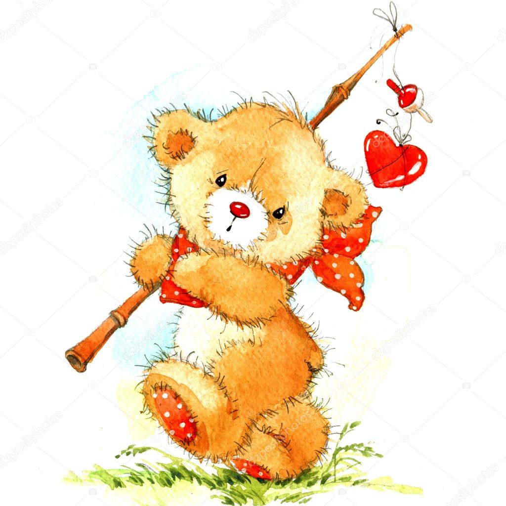 Funny Teddy Bear And Valentineu0027s Day. Background With Red Hearts.  Watercolor Illustration U2014 Photo By Dobrynina_art