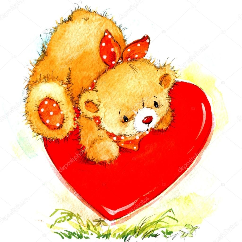 Valentine Day Background For Card With A Cute Teddy Bear And Red