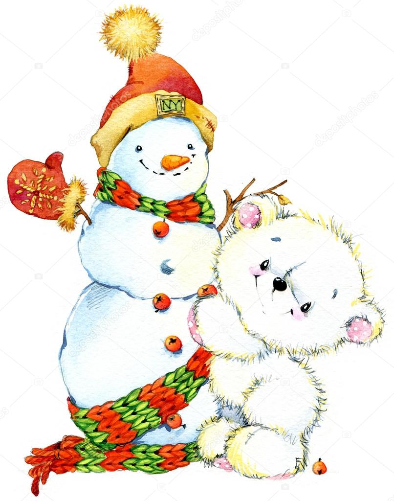 New Year  white bear.Christmas card series. watercolor illustration