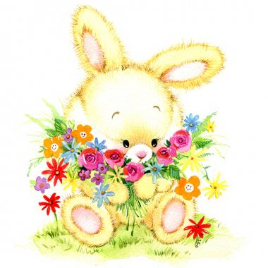 Funny bunny. kid background for holiday greetings . watercolor i