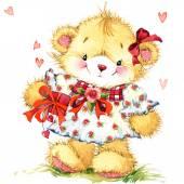 Valentin-nap. háttér a kártya egy aranyos maci és piros szív. akvarell, rajz