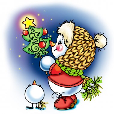 Snowman congratulates and celebrates. decorative background series