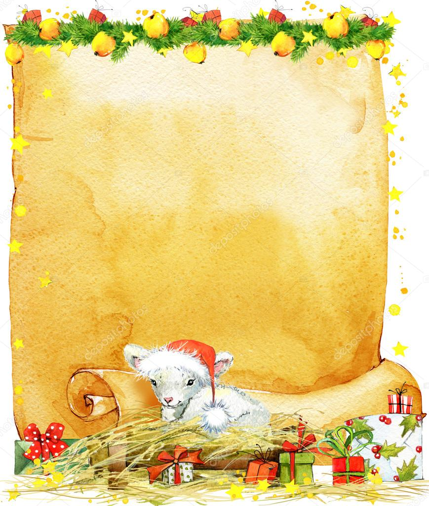 New Year Sheep And Christmas Wish List Decorative Background C