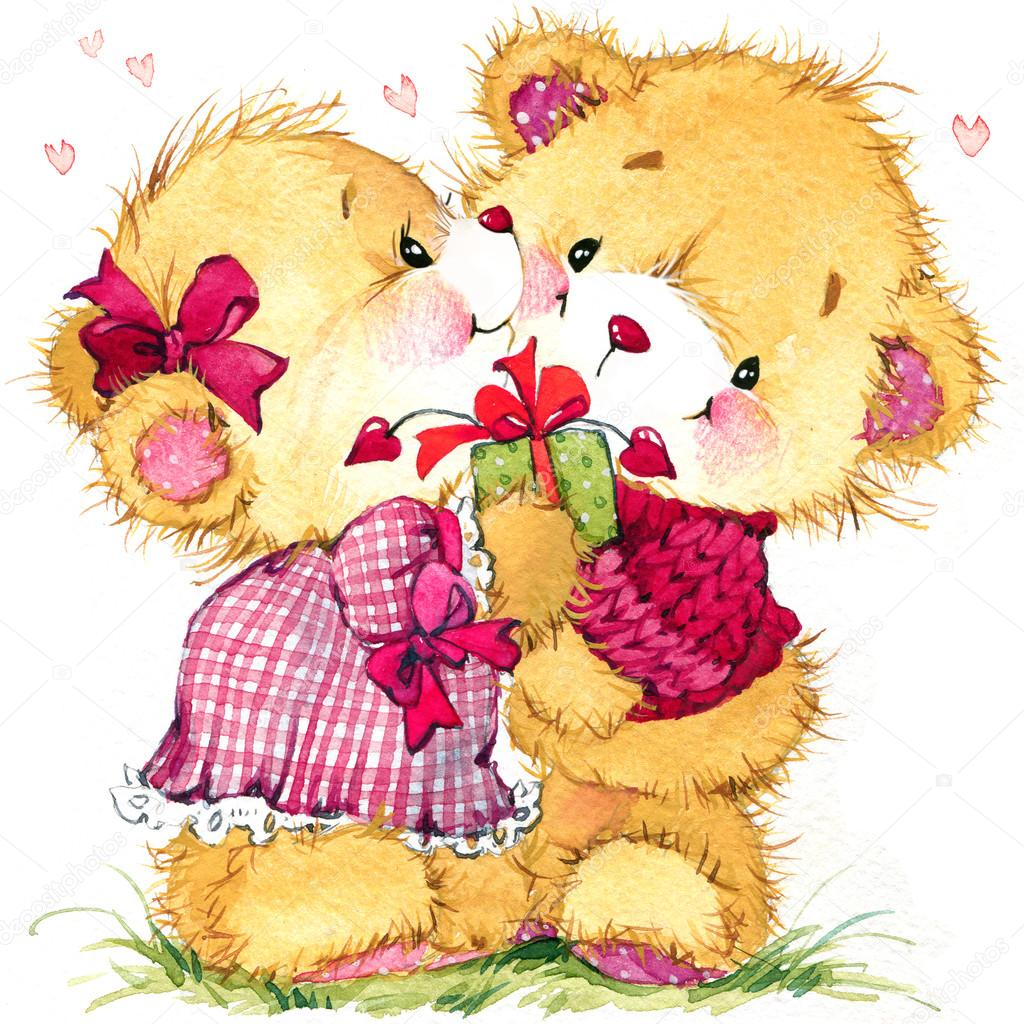 Teddy bear stock photos royalty free teddy bear images depositphotos valentine day background for card with a cute teddy bear and red heart watercolor izmirmasajfo