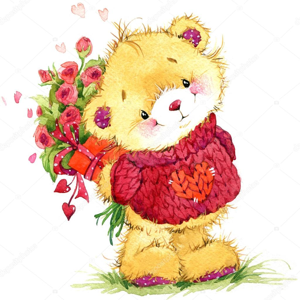 Valentine day background for card with a cute teddy bear and red – Teddy Bear Valentines Day Card